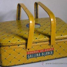 Cajas y cajitas metálicas: CAJA METÁLICA LITOGRAFIADA GALLINA BLANCA. Lote 8821034