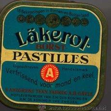Cajas y cajitas metálicas: CAJITA METALICA LÄKEROL PASTILLES 5,5 X 5,5 CM. Lote 18780157