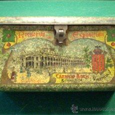 Cajas y cajitas metálicas: ANTIGUO CABAS DE HOJALATA LITOGRAFIADA - VALENCIA. Lote 17953719