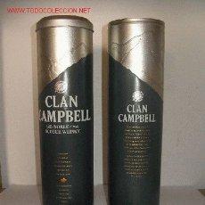 Cajas y cajitas metálicas: LATA METÁLICA DE WHISKY CLAN CAMPBELL CON TAPADERA.. Lote 2995239