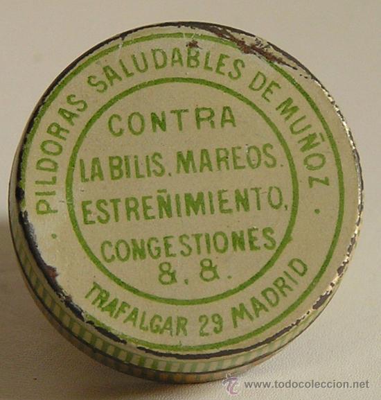 Cajas y cajitas metálicas: CAJA PILDORAS SALUDABLES DE MUÑOZ CONTRA LA BILIS, MAREOS, ESTREÑIMIENTO, CONGESTIONES, &, &.MADRID - Foto 2 - 10422841