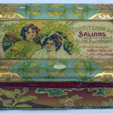 Cajas y cajitas metálicas - Caja lata almendras garrapiñadas Alcalá Henares Confitería Salinas años 20 - 20050105
