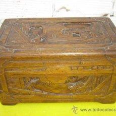 Cajas y cajitas metálicas: CAJA MADERA DE TEKA LABRADA. Lote 31139194