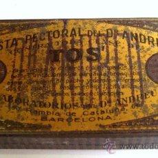Cajas y cajitas metálicas: CAJITA METALICA PASTA PECTORAL DEL DR. ANDREU CONTRA TODA CLASE DE TOS, BARCELONA (3,5X7CM APROX). Lote 20685995
