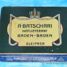 Cajas y cajitas metálicas: CAJA DE CHAPA. PUBLICIDAD , PROPAGANDA TABACO. BATSCHARI, SLEIPNER, BADEN-BADEN, ALEMANIA1930. Lote 13029156