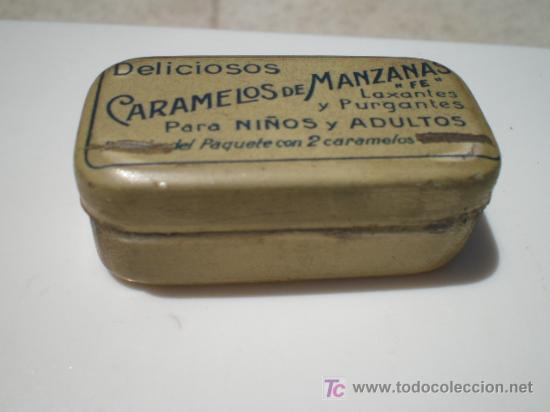CAJA DE CHAPA DE CARAMELOS DE MANZANA