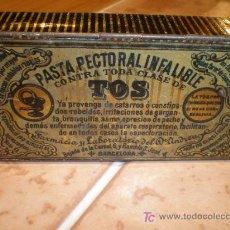 Cajas y cajitas metálicas: ANTIGUA LATA DE CHAPA - PASTA PECTORAL INFALIBLE - TOS. Lote 27461176