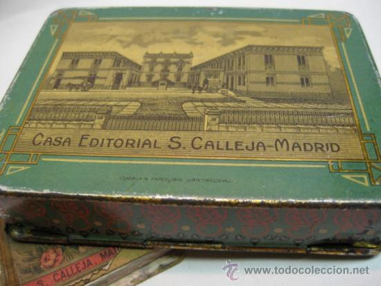 Cajas y cajitas metálicas: CAJA DE HOJALATA LITOGRAFIADA, FF,SG,XIX. JOYAS PARA NIÑOS ESTUCHE II CALLEJA. JUNTAS SIN SOLDADURA. - Foto 2 - 14501556