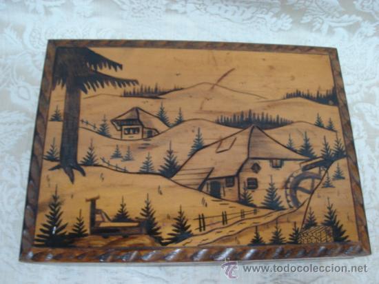caja de madera con paisaje pirograbado antigua cajas y envases cajas y cajitas metlicas