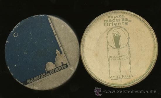 ANTIGUA CAJA MAQUILLAJE EN POLVO CARA * MADERAS DE ORIENTE * RACHEL TRIANA (MYRURGIA) (Cajas y Envases - Cajas y Cajitas Metálicas)