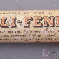 Cajas y cajitas metálicas: ENVASE DE FARMACIA: SALI-FENIL, TABLETAS (ENVASE DE VIDRIO CON TAPON DE CORCHO, 6,5X1,5CM APROX). Lote 20983612