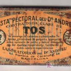 Cajas y cajitas metálicas: CAJA METALICA ANTIGUA DE MEDICAMENTO, PASTA PECTORAL DEL DR. ANDREU. Lote 15918300