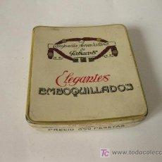 Cajas y cajitas metálicas: CAJA METALICA DE TABACO - ELEGANTES EMBOQUILLADOS, COMPANIA ARRENDATARIA DE TABACOS. Lote 23876999