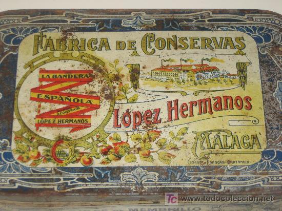 MÁLAGA. FÁBRICA DE CONSERVAS LÓPEZ HERMANOS. LA BANDERA ESPAÑOLA.DULCE DE MEMBRILLO (Coleccionismo - Cajas y Cajitas Metálicas)