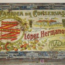 Cajas y cajitas metálicas: MÁLAGA. FÁBRICA DE CONSERVAS LÓPEZ HERMANOS. LA BANDERA ESPAÑOLA.DULCE DE MEMBRILLO. Lote 27635402