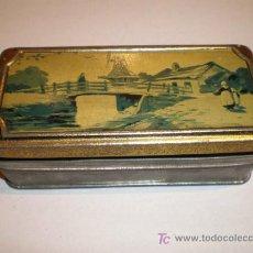 Cajas y cajitas metálicas: PRECIOSA Y ANTIGUA LATA LITOGRAFIADA. Lote 27637566
