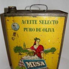 Cajas y cajitas metálicas: ANTIGUA Y PRECIOSA LATA DE ACEITE SELECTO PURO DE OLIVA MUSA - MORENO SA CORDOBA - AÑO 1950 - MEDALL. Lote 43393379