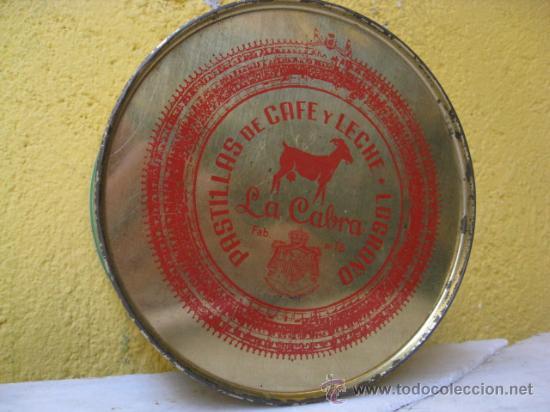 Cajas y cajitas metálicas: CAJA CHAPA SERIGRAFIADA CARAMELOS CAFE Y LECHE LA CABRA - LOGROÑO PERFECTA 13X8CM + info. - Foto 2 - 19943942