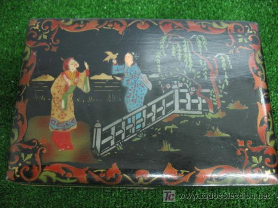 CAJA JOYERO CON MOTIVOS CHINOS (Coleccionismo - Cajas y Cajitas Metálicas)