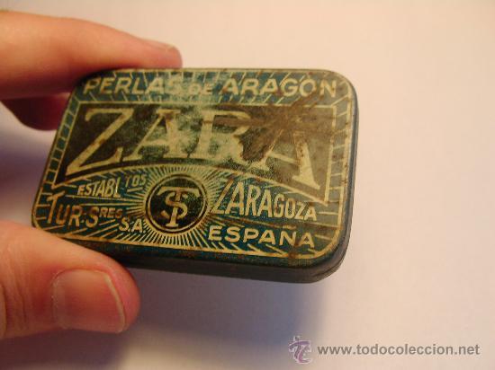 CAJA METALICA DE HOJALATA PASTILLAS PERLAS DE ARAGON ZARA (Coleccionismo - Cajas y Cajitas Metálicas)
