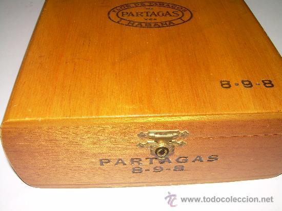 Cajas y cajitas metálicas: ANTIGUA CAJA DE MADERA NOBLE...........PUROS..............PARTAGAS 8.9.8 - Foto 4 - 21129943