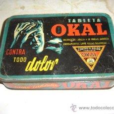 Cajas y cajitas metálicas: ANTIGUA CAJA METALICA DE TABLETAS OKAL. Lote 26248457
