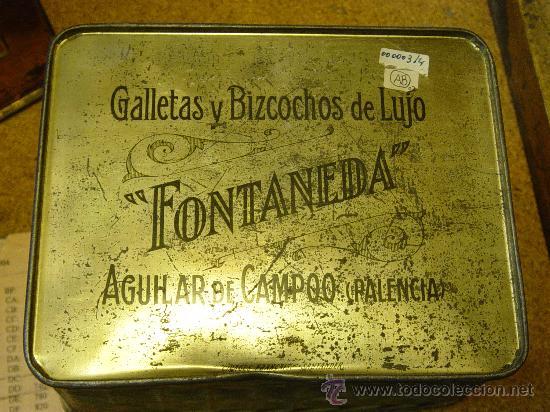 CAJA DE LATA EN FORMA DE CESTA. GALLETAS Y BIZCOCHOS DE LUJO FONTANEDA. AGUILAR DE CAMPO. PALENCIA. (Cajas y Envases - Cajas y Cajitas Metálicas)
