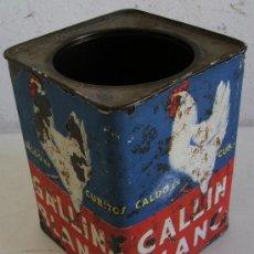 Cajas y cajitas metálicas: CAJA METALICA GALLINA BLANCA CON ETIQUETA DE PAPEL EN MAL ESTADO (10X10X13,5CM APROX). Lote 23183142