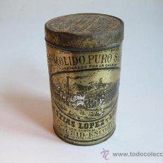 Cajas y cajitas metálicas: ANTIGUO BOTE DE CAFE MOLIDO PURO SUPERIOR DE MATIAS LOPEZ Y LOPEZ. Lote 23237622