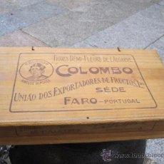Cajas y cajitas metálicas: ANTIGUA CAJA EN MEDERA PINO PIROGRABADA - HIGOS FIGOS COLOMBO FARO PORTUGAL CORREO 2.8€. Lote 23567540