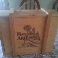 Cajas y cajitas metálicas: CAJA DE MADERA VACIA PARA 3 BOTELLAS DE VINO MARQUES DE ARIENZO.32X27X9.(MAS 6€ GASTOS ENVIO). Lote 26473888
