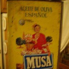 Cajas y cajitas metálicas: ANTIGUA Y PRECIOSA LATA DE ACEITE SELECTO PURO DE OLIVA MUSA - MORENO SA CORDOBA - AÑO 1950 - MEDALL. Lote 25915310