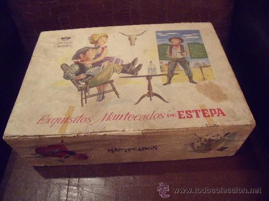 antigua caja de mantecados de estepa de madera
