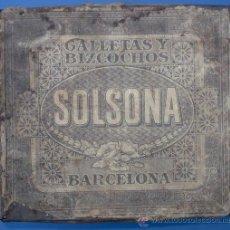 Cajas y cajitas metálicas: CAJA METÁLICA DE GALLETAS SOLSONA. SURTIDO POPULAR. BARCELONA, SIN FECHA.. Lote 27309213