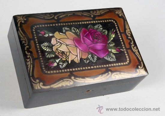 antigua caja de madera neceser joyero con espejo decorada con rosas cuo de fbrca estrella