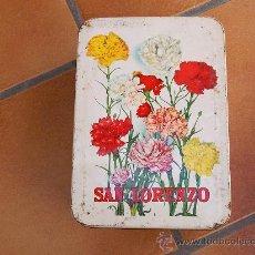 Cajas y cajitas metálicas: ANTIGUA CAJA NATA DE MEMBRILLO LORENZO ESTEPA 1973-74. Lote 28628276