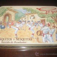 Cajas y cajitas metálicas: CAJA DE HOJALATA CONFITURAS GOYA. VASQUITOS Y NESQUITAS SURTIDO DE BOMBONES. Lote 28628436