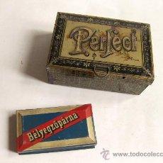 Cajas y cajitas metálicas: ANTIGUA CAJA DE LATA DE LA IMPRENTA PERFECT Y OTRA TAMPON - IMPRENTILLA. Lote 29410918