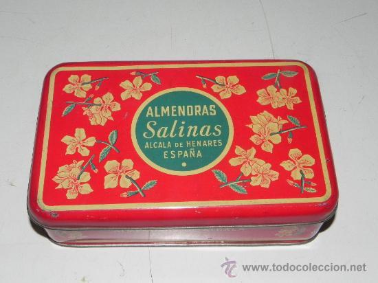 ANTIGUA CAJA DE HOJALATA LITOGRAFIADA CON PUBLICIDAD DE ALMENDRAS SALINAS - ALCALA DE HENARES - MIDE (Coleccionismo - Cajas y Cajitas Metálicas)