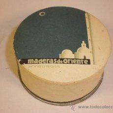 Cajas y cajitas metálicas: CAJA POLVOS *MADERA DE ORIENTE*, BLANCO, MYRURGIA, BARCELONA. Lote 30223579