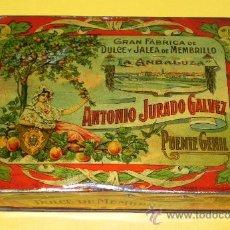 Cajas y cajitas metálicas: ANTIGUA CAJA DE HOJALATA LITOGRAFIADA DE MENBRILLO LA ANDALUZA . ANTONIO JURADO GALVEZ. GRAN FABRICA. Lote 30312689
