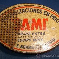 Cajas y cajitas metálicas: ANTIGUA CAJA DE DE VULCANIZACIONES EN FRIO SAMI. 8.5 CM.. Lote 30402364