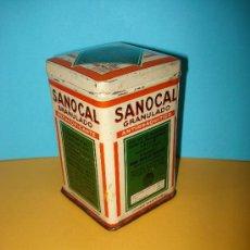 Cajas y cajitas metálicas: ANTIGUA CAJA EN HOJALATA LITOGRAFIADA SANOCAL GRANULADO ANTIANEMICO LABORATORIOS ABELLÓ. AÑO1930S... Lote 30580140