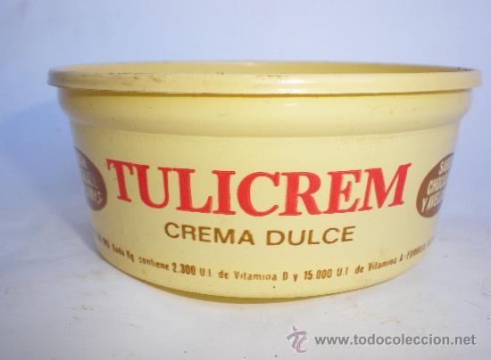 TARRINA *TULICREM* CREMA DULCE SABOR CHOCOLATE Y AVELLANAS, 200 GR. AÑOS 70 (Coleccionismo - Cajas y Cajitas Metálicas)
