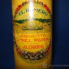Cajas y cajitas metálicas: ANTIGUO BOTE LITOGRAFIADA DE MIEL DE LA ALCARRIA EL ROMERO TOMÁS MAZARIO CIFUENTES GUADALAJARA 1930S. Lote 30961967