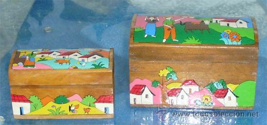 2 cajas decoradas a mano en estilo naif en m comprar