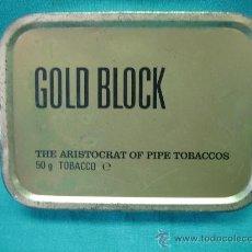 Cajas y cajitas metálicas: CAJA METALICA DE TABACO GOLD BLOCK 11X8X2´5 MADE IN ENGLAN. Lote 31299230