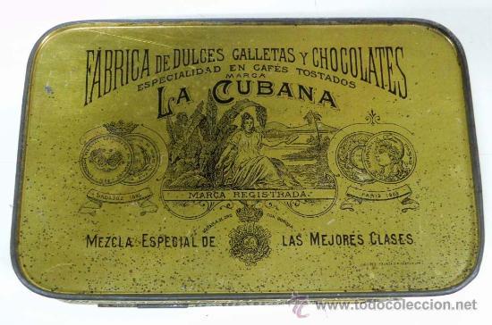 Cajas y cajitas metálicas: ANTIGUA CAJA DE HOJALATA LITOGRAFIADA CON PUBLICIDAD LA CUBANA - BADAJOZ - FABRICA DE DULCES GALLETA - Foto 3 - 31804729