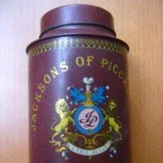 Cajas y cajitas metálicas: ANTIGUO BOTE LATA TE THE TH JACKSONS OF PICCADILLY 17 X 10 CTMS M B E PRINCIPIOS DE SIGLO. Lote 32096411