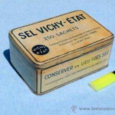 Cajas y cajitas metálicas: CAJA METALICA GRANDE DE SEL VICHY. Lote 32294185